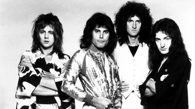 Queen:  Roger Taylor, Freddie Mercury, Brian May and John Deacon pose for an Electra Records publicity still to promote their tour of Japan in 1975.