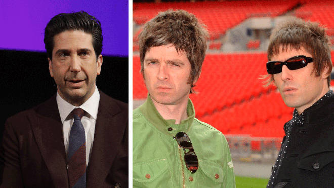 David Schwimmer and former Oasis rockers Liam Gallagher and Noel Gallagher