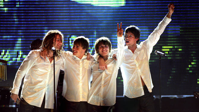 Take That after performing their last single, a re-make of the Bee Gees' How Deep Is Your Love?, at the Brit Awards 1996
