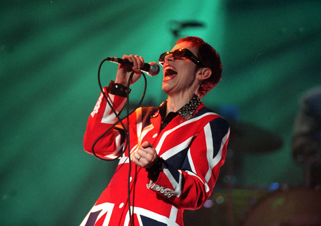 Annie Lennox of the Eurythmics performs during the BRIT Awards 1999