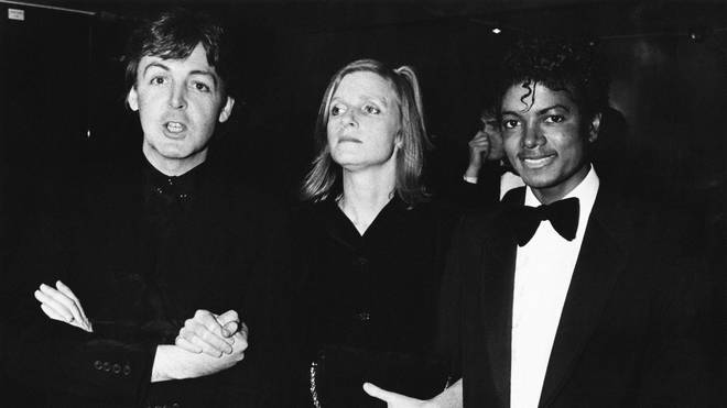 Paul McCartney poses with his wife Linda and Michael Jackson at the BRIT Awards 1983