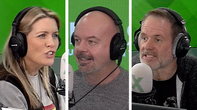 Pippa and Dom do the lip reading game with Chris Moyles
