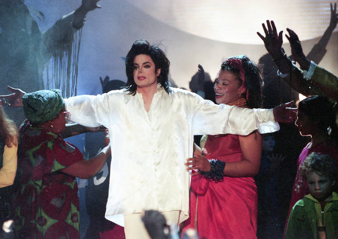 Michael Jackson performs on stage during The BRIT Awards 1996