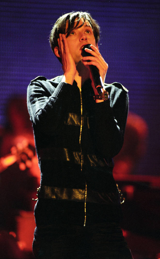 Jarvis Cocker performing at the BRIT Awards in 1996