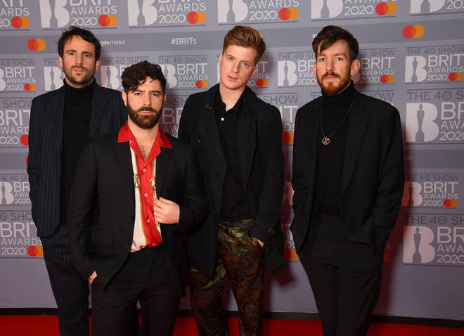Jimmy Smith, Yannis Philippakis, Jack Bevan and Edwin Congreave of Foals attend The BRIT Awards 2020 at The O2 Arena