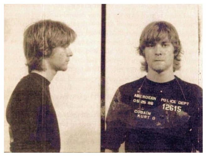 The mugshot of Kurt Cobain in Aberdeen, Washington from May 1986.