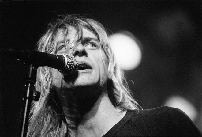 : Kurt Cobain from Nirvana performs live on stage at Paradiso in Amsterdam, Netherlands on November 25 1991