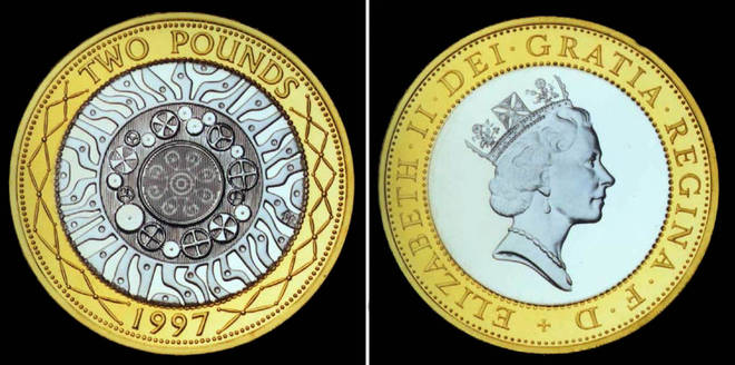 The £2 coin, just before its release on Monday 15 June, 1998