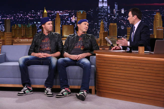 Will Ferrell and Chad Smith during an interview with host Jimmy Fallon on May 22, 2014