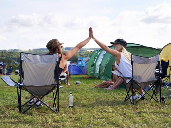 Festival Goers High Five