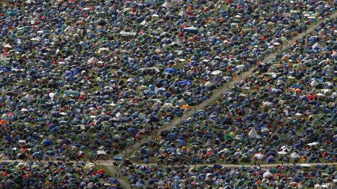 Glastonbury tents, 2008