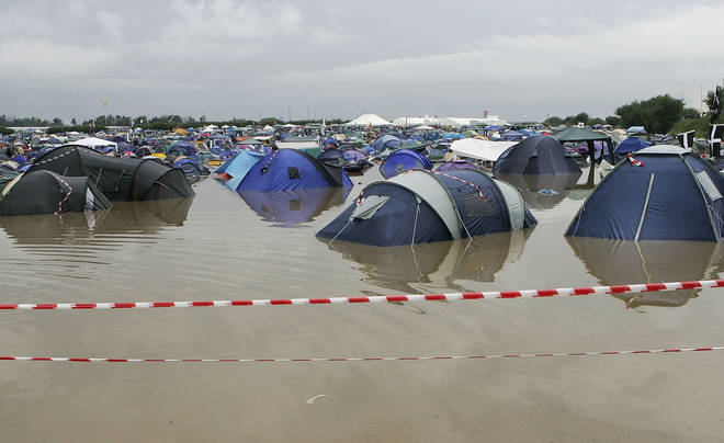 Glastonbury - tents in the water, 2005