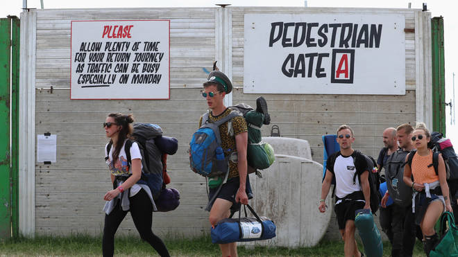 Glastonbury - fans leave the 2017 festival
