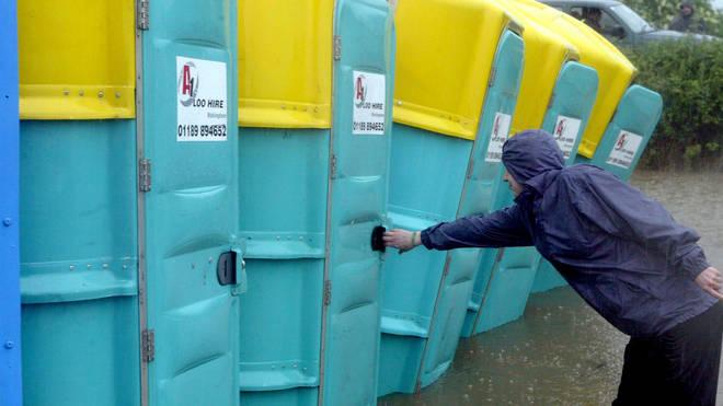Festival toilets at Glastonbury