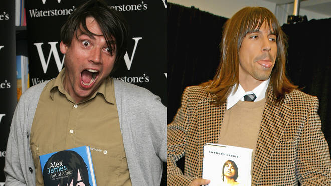 Alex James and Anthony Kiedis brandishing their autobiographies