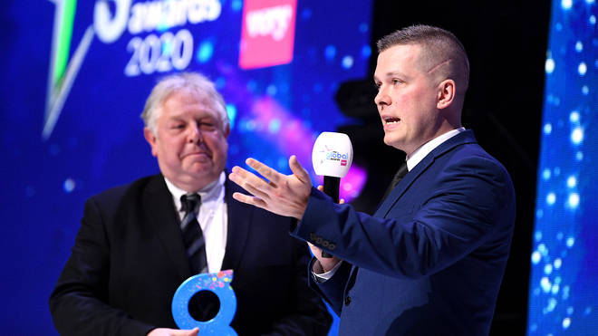 Stuart Outten wins The LBC Award Britan's Bravest Police Officer at the Global Awards 2020 with Very.co.uk at London's Eventim Apollo Hammersmith