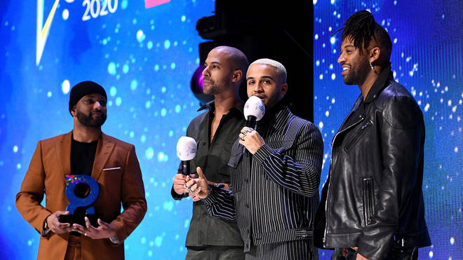 JLS (Oritse Williams, Marvin Humes, Aston Merrygold and JB Gill) on stage at the Global Awards 2020 with Very.co.uk at London's Eventim Apollo Hammersmith.