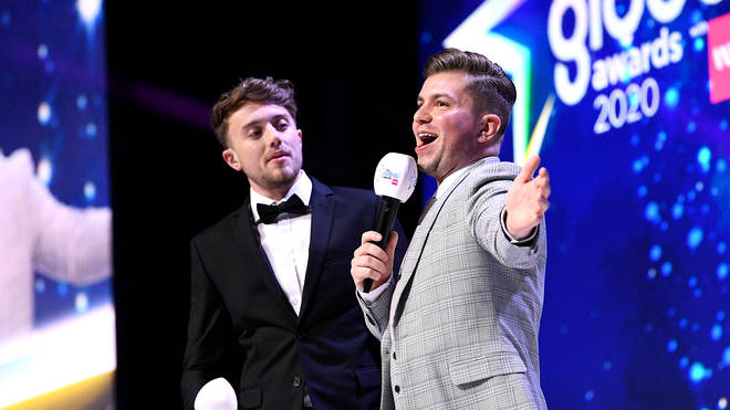 Hosts Roman Kemp (left) and Sonny Jay on stage at the Global Awards 2020 with Very.co.uk at London's Eventim Apollo Hammersmith