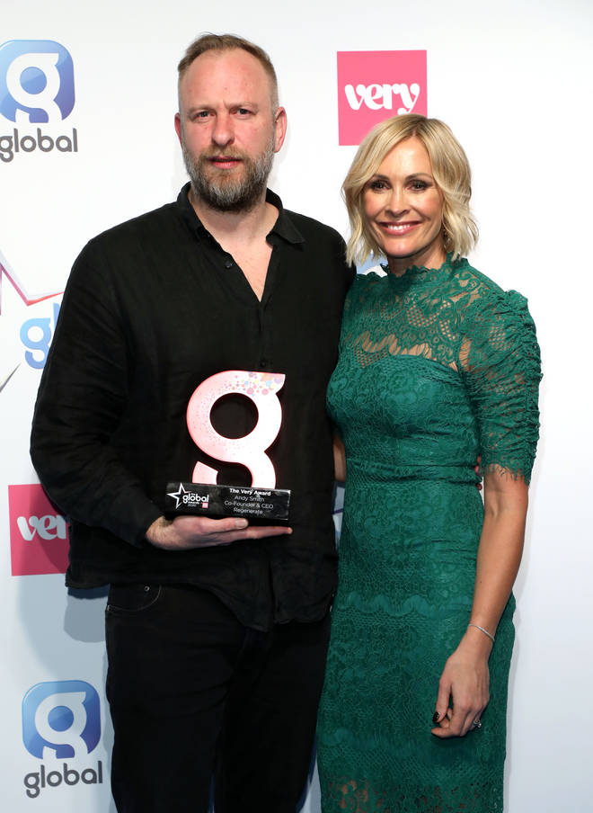 Jenni Falconer (right) with Andy Smith winner of The Very Award at The Global Awards 2020 with Very.co.uk at London's Eventim Apollo Hammersmith.