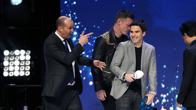 Stereophonics accept the award from Johnny Vaughan and Chris Moyles for Best Indie on stage at the Global Awards 2020 with Very.co.uk at London's Eventim Apollo Hammersmith.