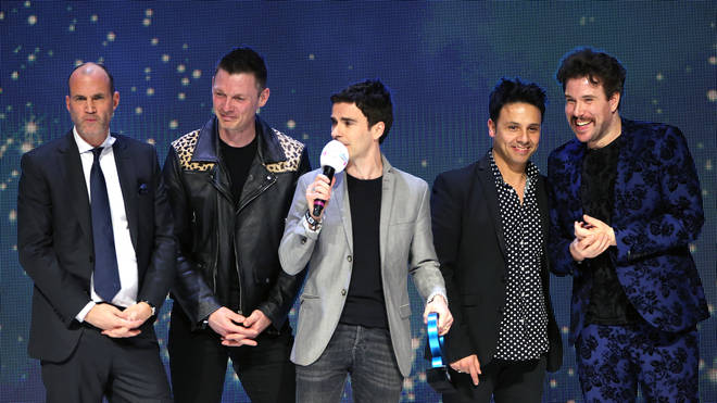 Jamie Morrison, Adam Zindani, Kelly Jones and Richard Jones of Stereophonics accept the award for Best Indie on stage at the Global Awards 2020 with Very.co.uk at London's Eventim Apollo Hammersmith.