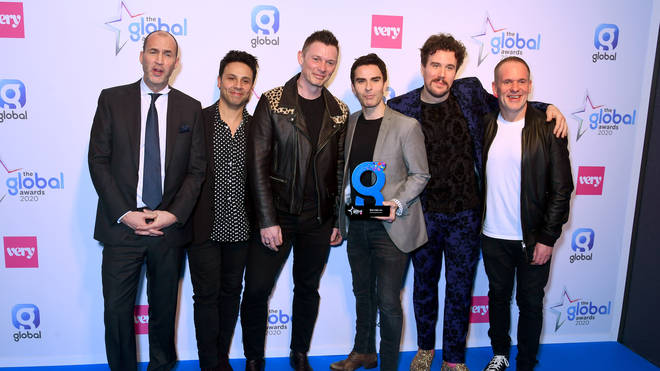 Radio X presenter Johnny Vaughan and Stereophonics' Adam Zindani, Richard Jones, Kelly Jones, Jamie Morrison and Radio X's Chris Moyles with the Best Indie Award at The Global Awards 2020 at Eventim Apollo, Hammersmith on March 05, 2020