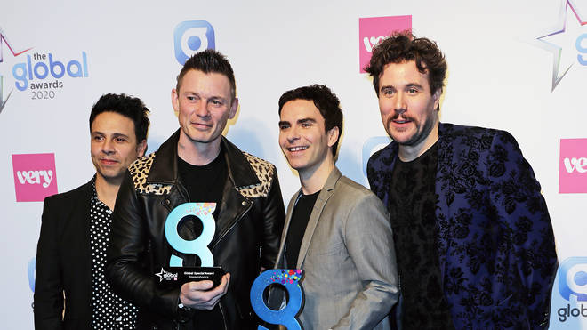 Stereophonics, winners of Best Indie Act Award pose in the Winners Room during The Global Awards 2020 at the Eventim Apollo,