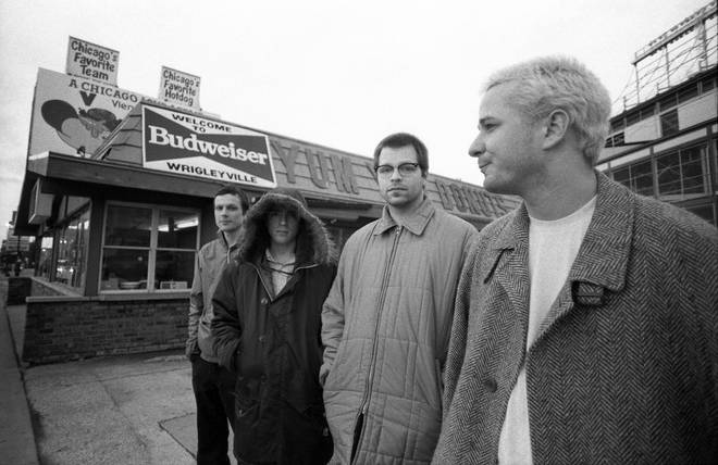 Weezer in 1996: Brian Bell, Rivers Cuomo, Patrick Wilson and Mat Sharp.