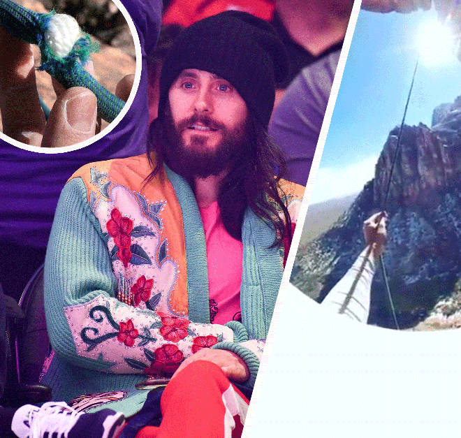 Jared Leto, with his rock climbing fall and worn rope inset