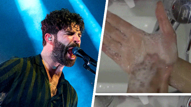 Foals frontman Yannis Philippakis with stills from their Wash Off video