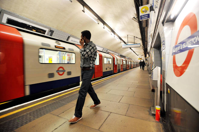A Victoria Line underground train at Highbury & Islington Station