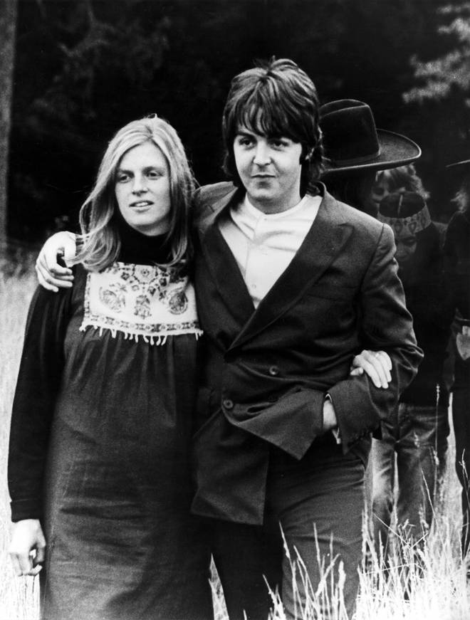Linda and Paul McCartney at the very final Beatles photo shoot in August 1969