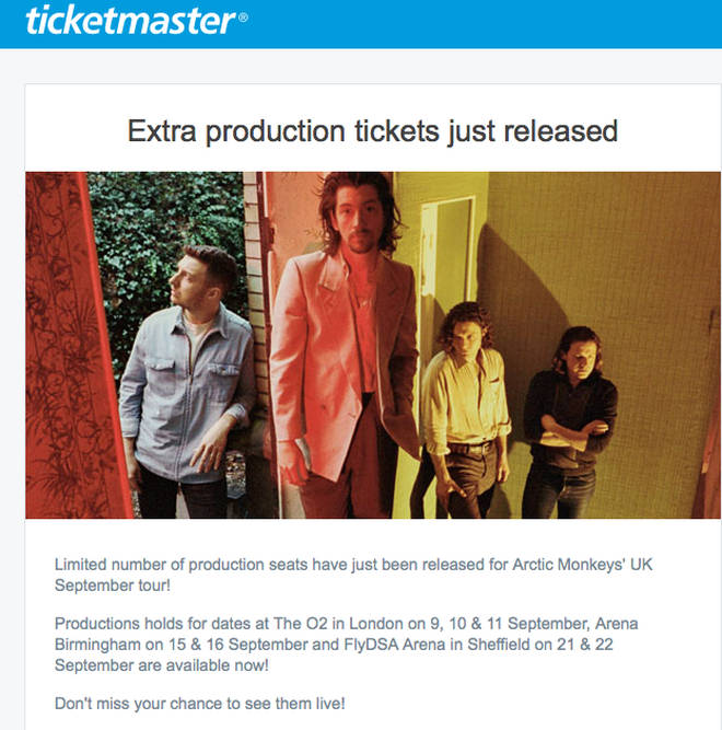 Ticketmaster email for Arctic Monkeys production tickets