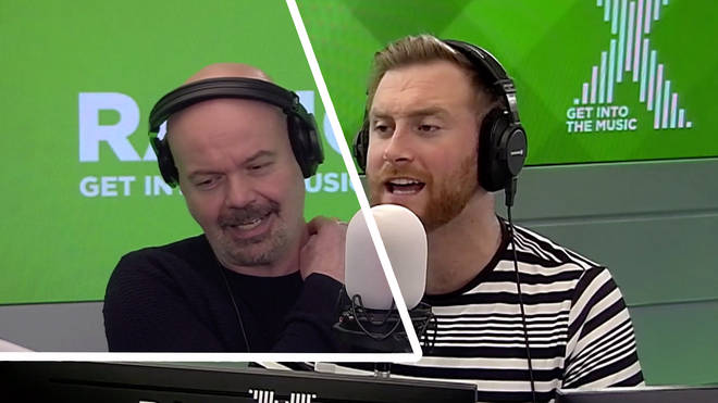 Dominic Byrne gets mocked by Toby Tarrant for using massage machines at service stations on The Chris Moyles Show