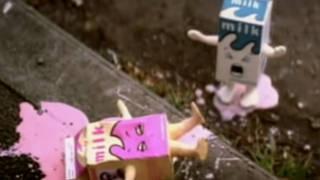 A screenshot of the milk cartons in Blur's Coffee & TV video