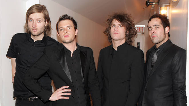 The Killers in 2005: Brandon Flowers, Mark Stoermer, David Keuning, and Ronnie Vannucci