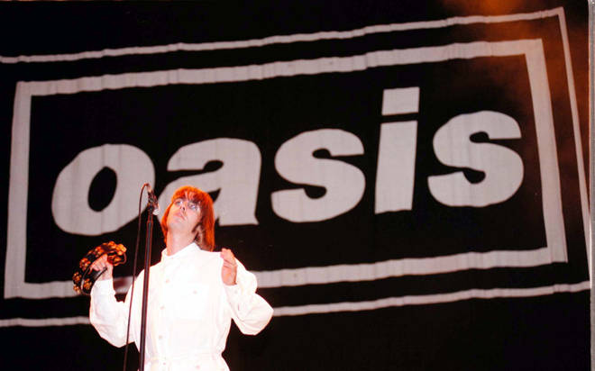 Liam Gallagher of Oasis onstage at Knebworth, 10 August 1996