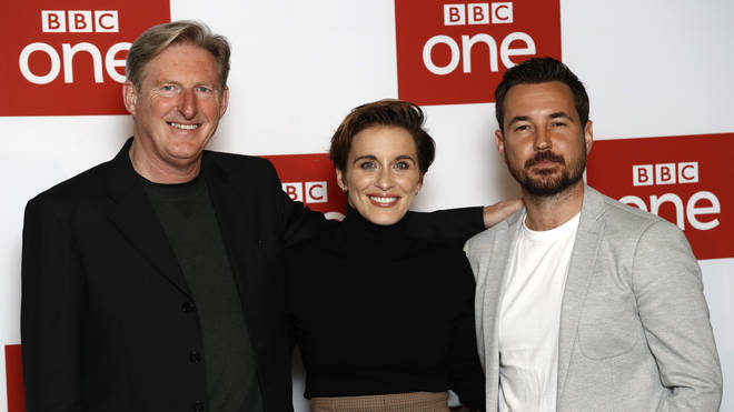 """Adrian Dunbar, Vicky McClure and Martin Compston attend the """"Line of Duty"""" photocall at BFI Southbank on March 18, 2019"""