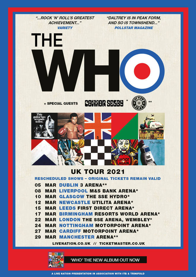 The Who rescheduled UK tour dates for 2021