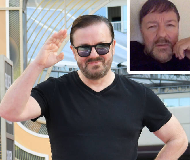Ricky Gervais at the 77th annual Golden Globes with picture of the star on Twitter inset