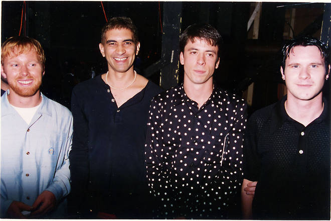 Foo Fighters Mark 1 at the 1996 MTV Awards: Nate Mendel, Pat Smear, Dave Grohl and William Goldsmith