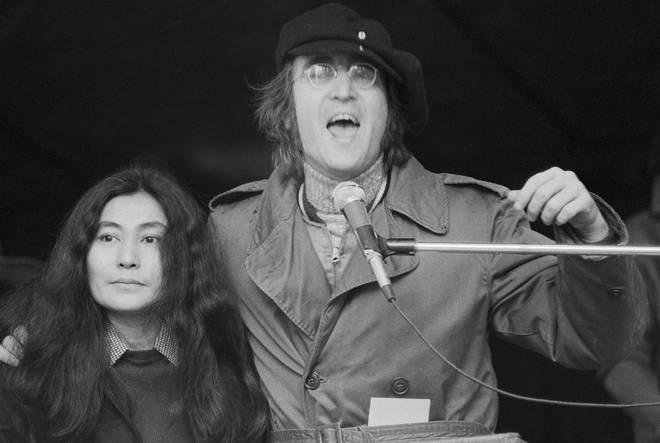 John Lennon and Yoko Ono at Antiwar Rally in 1972