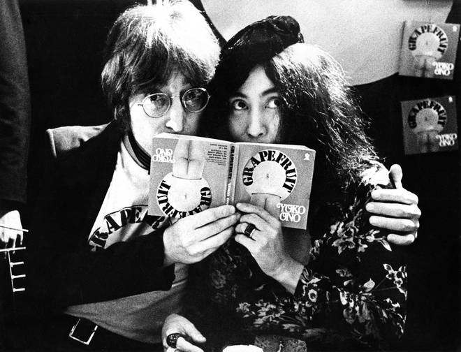 John Lennon and Yoko Ono in Selfridges department store, Oxford Street, London in 1971 to promote the publication of the 2nd edition of Yoko Ono's book Grapefruit