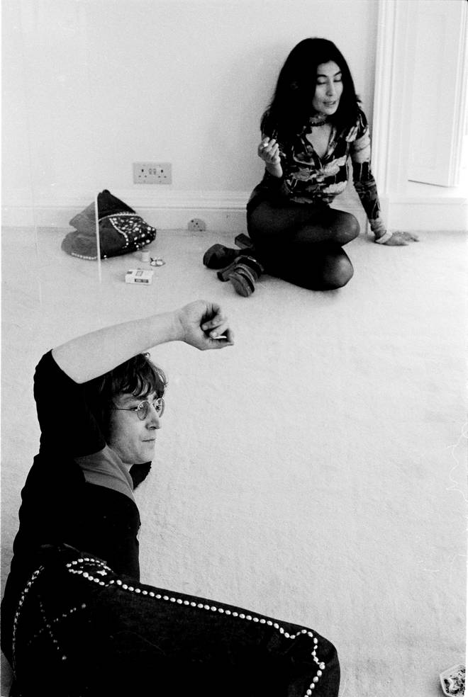 John Lennon and Yoko Ono at home in Tittenhurst Park, near Ascot, Berkshire, July 1971