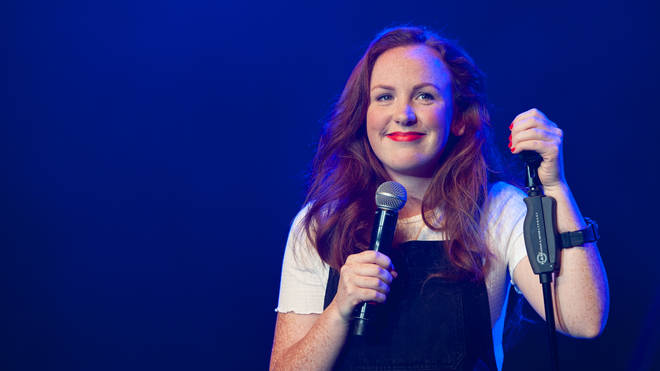 Catherine Bohart performs 'Immaculate' on stage during Pleasance Launch Opening Gala 2018, as part of the annual Edinburgh Fringe Festival,