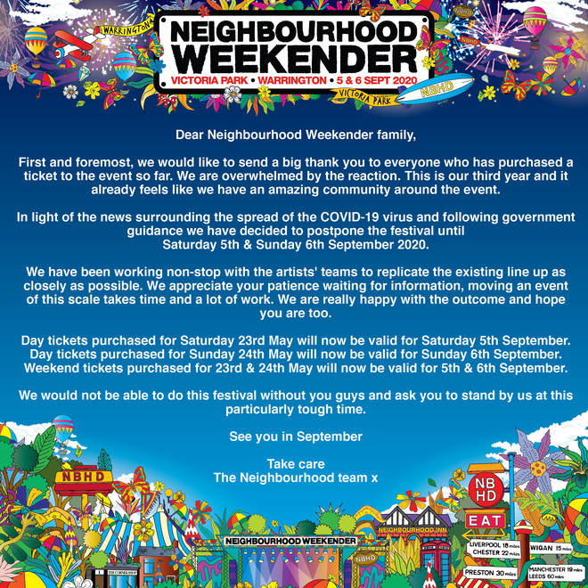 Neighbourhood Weekender release official statement on 2020 postponement