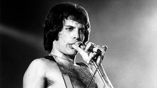 Freddie Mercury onstage with Queen, December 1979