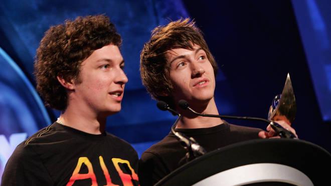 Arctic Monkeys' Matt Helders and Alex Turner at the 2006 Mercury Prize Awards