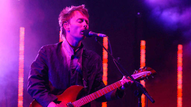 Thom Yorke performing with Radiohead at Glastonbury 2003