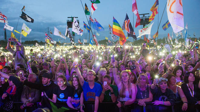 Crowds gather in front of the Pyramid Stage at Glastonbury 2017
